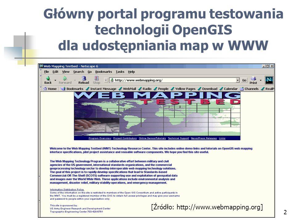 Główny portal programu testowania technologii OpenGIS dla udostępniania map w WWW