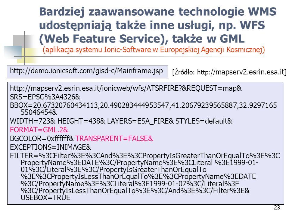 Bardziej zaawansowane technologie WMS udostępniają także inne usługi, np. WFS (Web Feature Service), także w GML