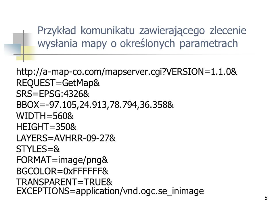 Przykład komunikatu zawierającego zlecenie wysłania mapy o określonych parametrach