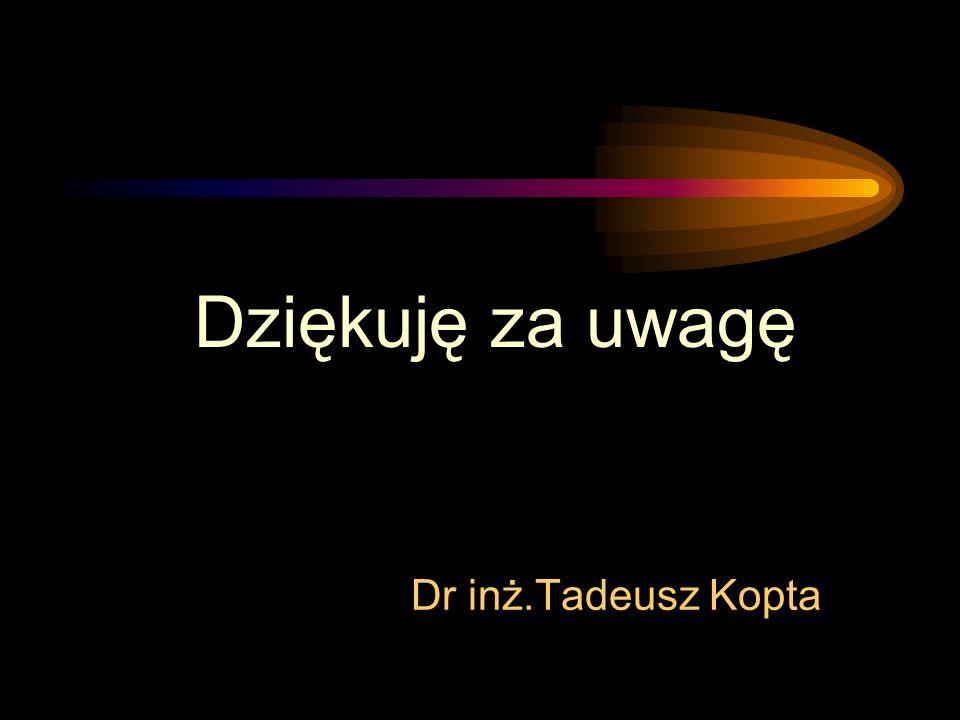 Dziękuję za uwagę Dr inż.Tadeusz Kopta