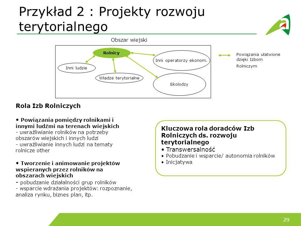 Przykład 2 : Projekty rozwoju terytorialnego
