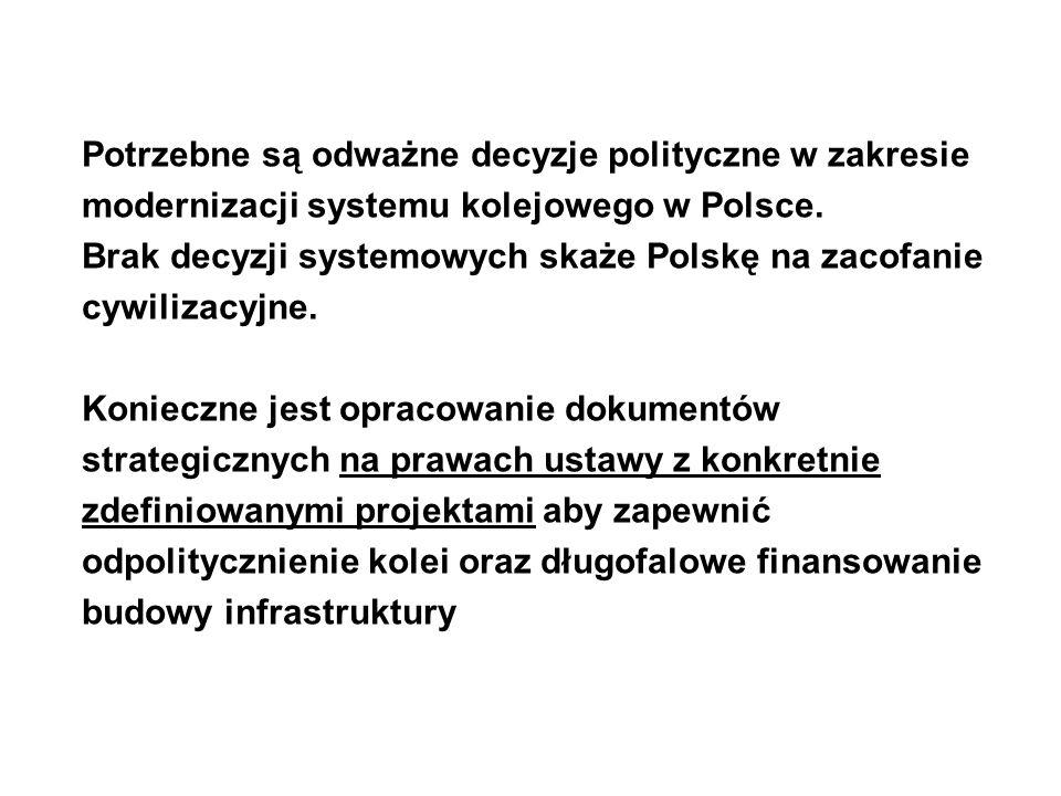 Potrzebne są odważne decyzje polityczne w zakresie modernizacji systemu kolejowego w Polsce.