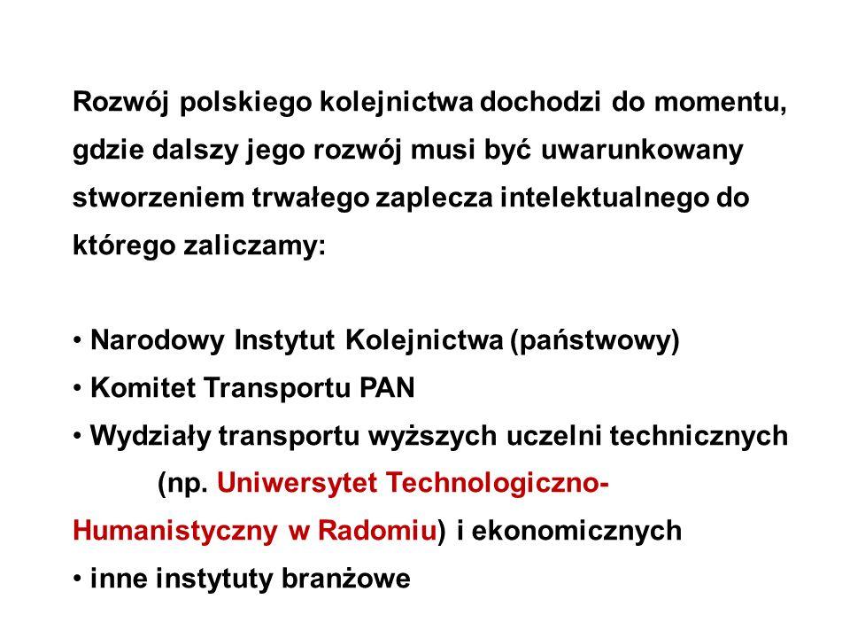 Rozwój polskiego kolejnictwa dochodzi do momentu, gdzie dalszy jego rozwój musi być uwarunkowany stworzeniem trwałego zaplecza intelektualnego do którego zaliczamy: