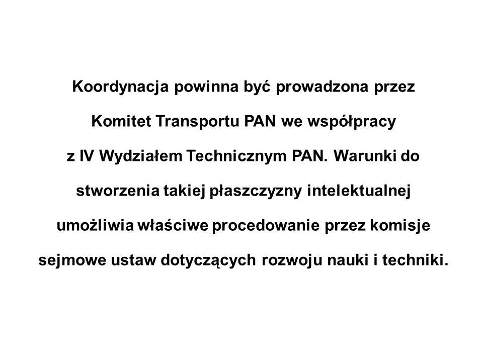 Koordynacja powinna być prowadzona przez Komitet Transportu PAN we współpracy z IV Wydziałem Technicznym PAN.