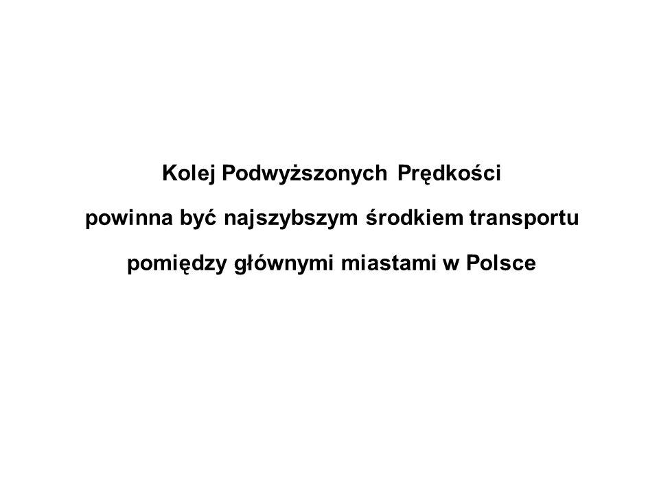 Kolej Podwyższonych Prędkości powinna być najszybszym środkiem transportu pomiędzy głównymi miastami w Polsce