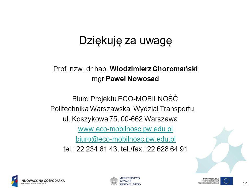 Dziękuję za uwagę Prof. nzw. dr hab. Włodzimierz Choromański