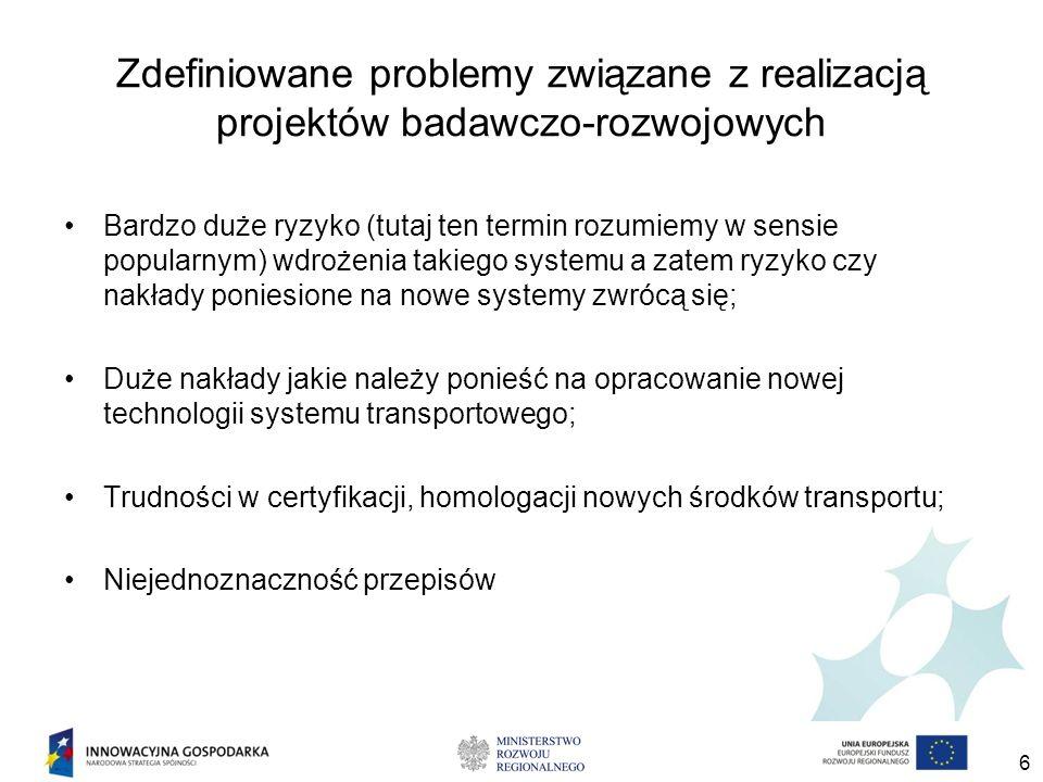 Zdefiniowane problemy związane z realizacją projektów badawczo-rozwojowych