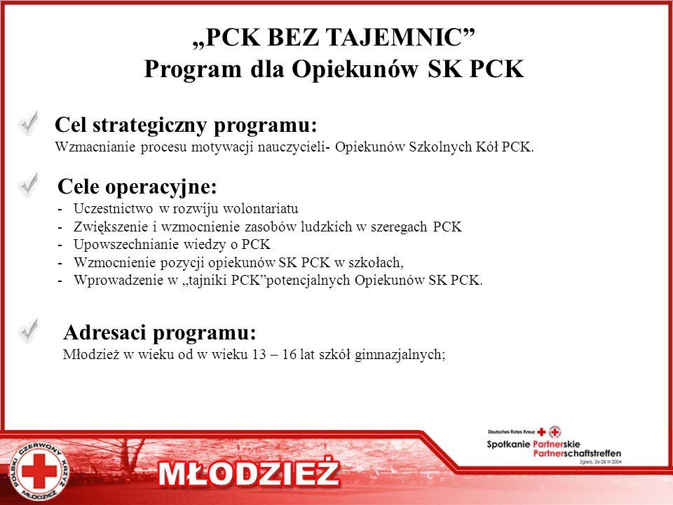 """PCK BEZ TAJEMNIC Program dla Opiekunów SK PCK"