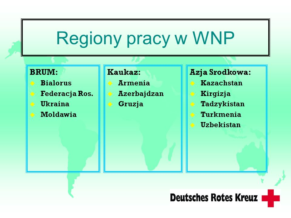 Regiony pracy w WNP BRUM: Kaukaz: Azja Srodkowa: Bialorus