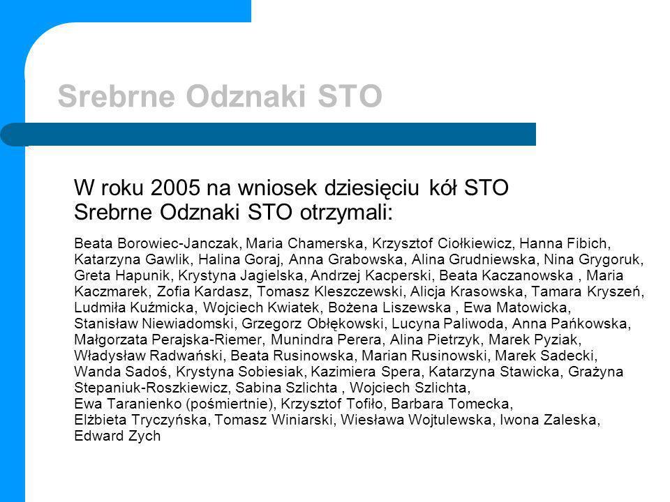 Srebrne Odznaki STO W roku 2005 na wniosek dziesięciu kół STO Srebrne Odznaki STO otrzymali: