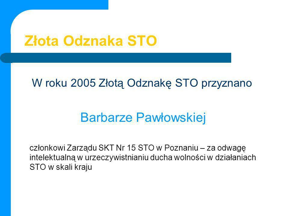 Złota Odznaka STO Barbarze Pawłowskiej