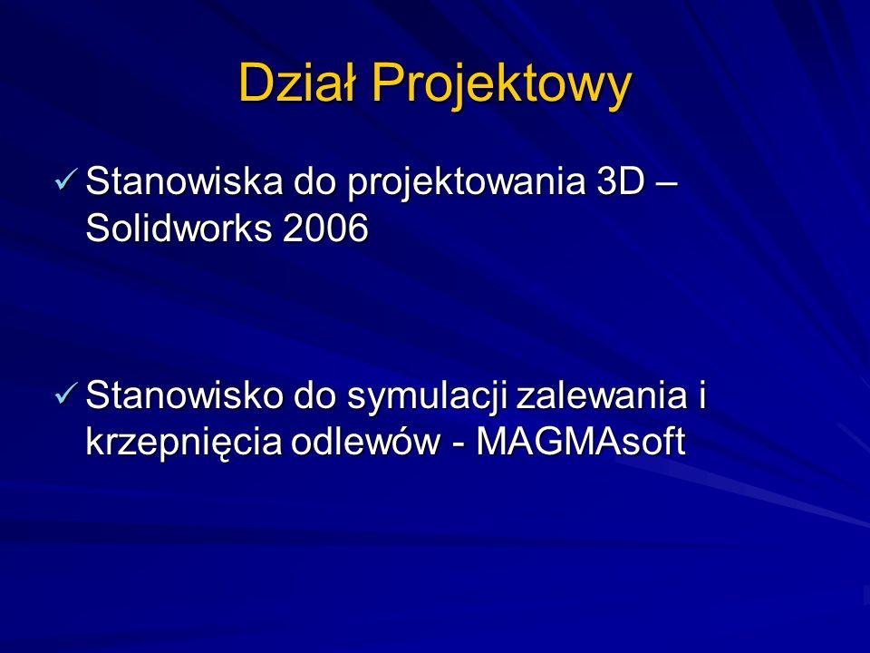 Dział Projektowy Stanowiska do projektowania 3D – Solidworks 2006
