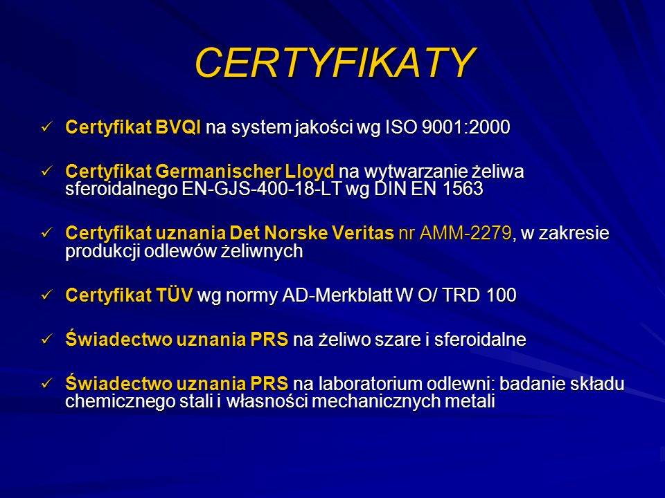 CERTYFIKATY Certyfikat BVQI na system jakości wg ISO 9001:2000