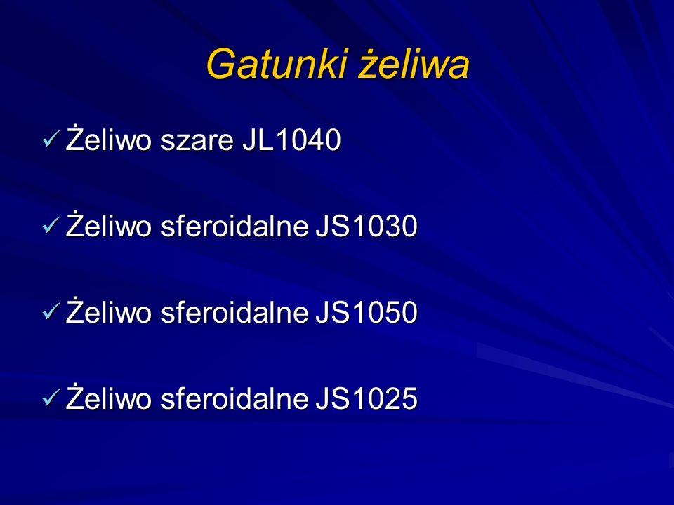 Gatunki żeliwa Żeliwo szare JL1040 Żeliwo sferoidalne JS1030