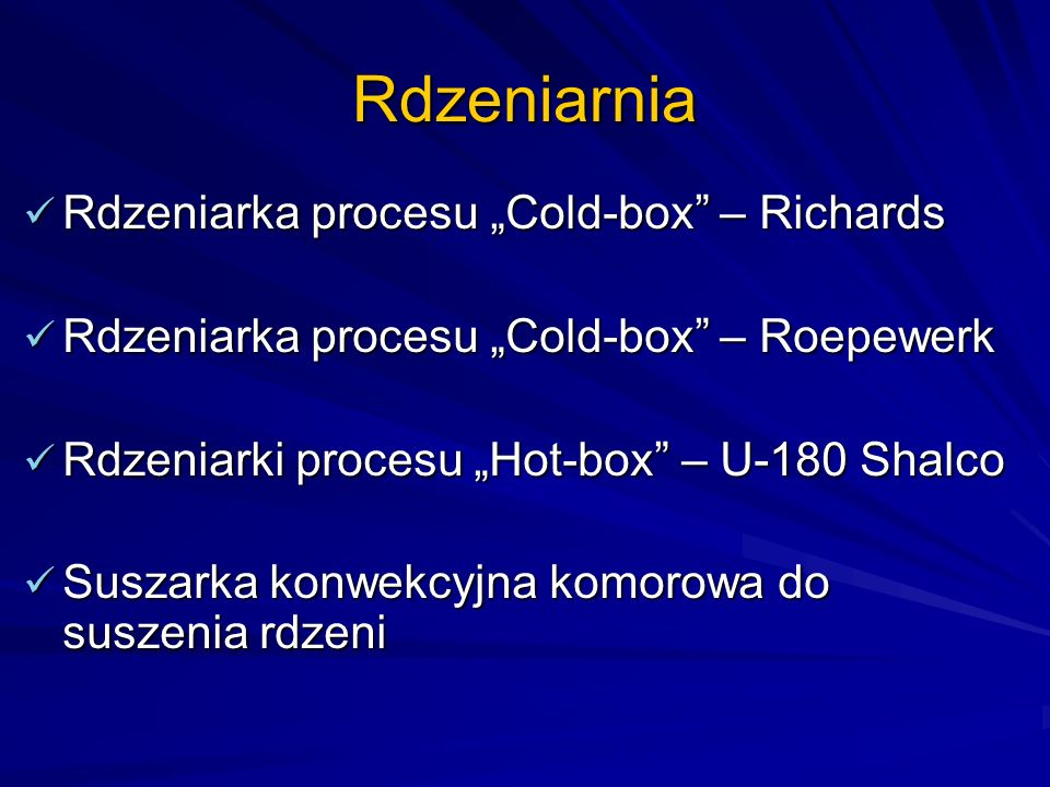 "Rdzeniarnia Rdzeniarka procesu ""Cold-box – Richards"