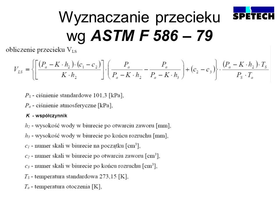 Wyznaczanie przecieku wg ASTM F 586 – 79