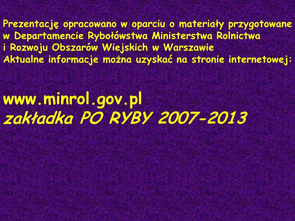 www.minrol.gov.pl zakładka PO RYBY 2007-2013