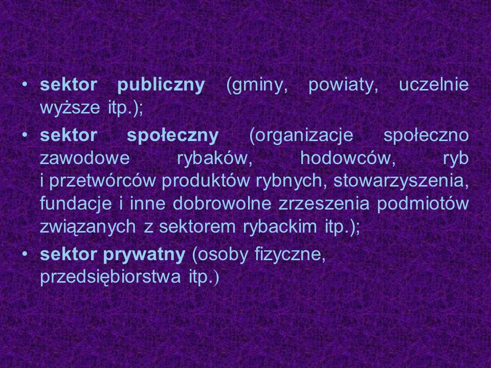 sektor publiczny (gminy, powiaty, uczelnie wyższe itp.);