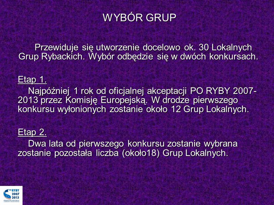 WYBÓR GRUP Przewiduje się utworzenie docelowo ok. 30 Lokalnych Grup Rybackich. Wybór odbędzie się w dwóch konkursach.