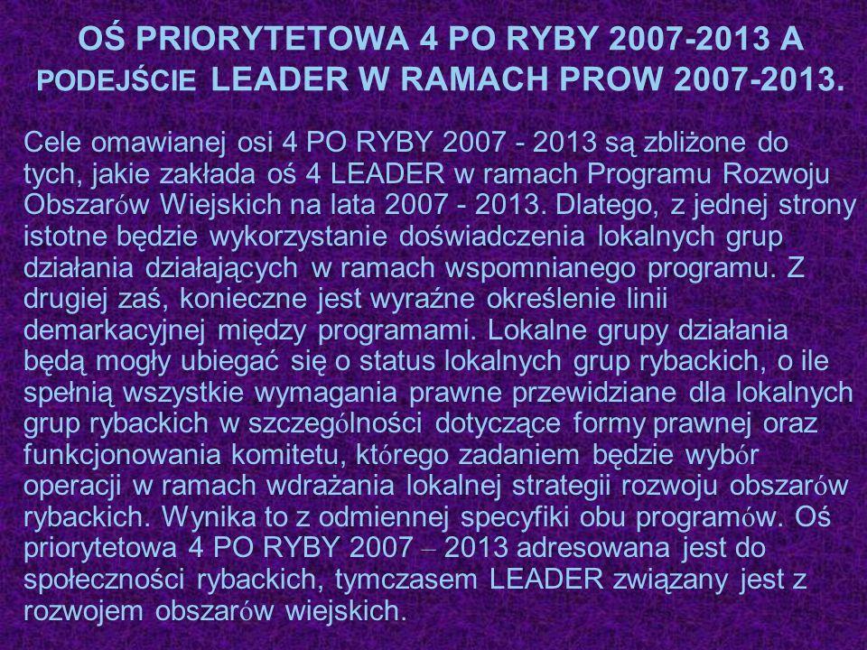 OŚ PRIORYTETOWA 4 PO RYBY 2007-2013 A PODEJŚCIE LEADER W RAMACH PROW 2007-2013.