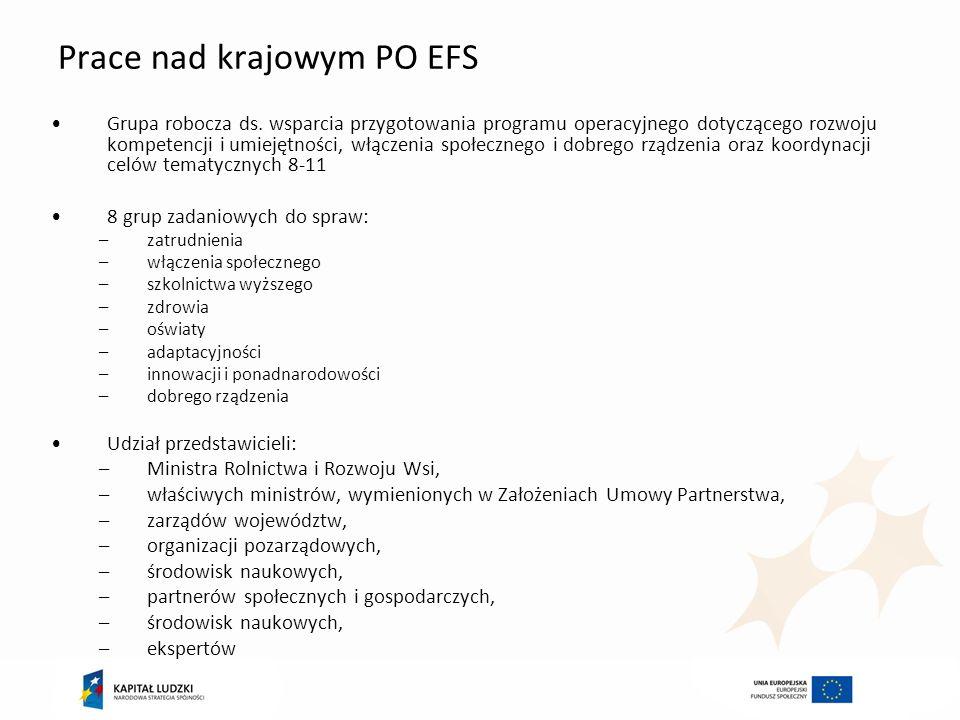 Prace nad krajowym PO EFS