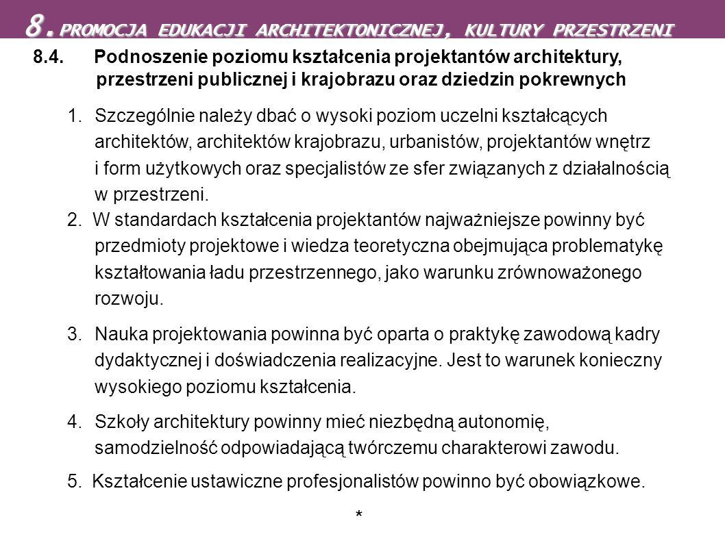 8.PROMOCJA EDUKACJI ARCHITEKTONICZNEJ, KULTURY PRZESTRZENI