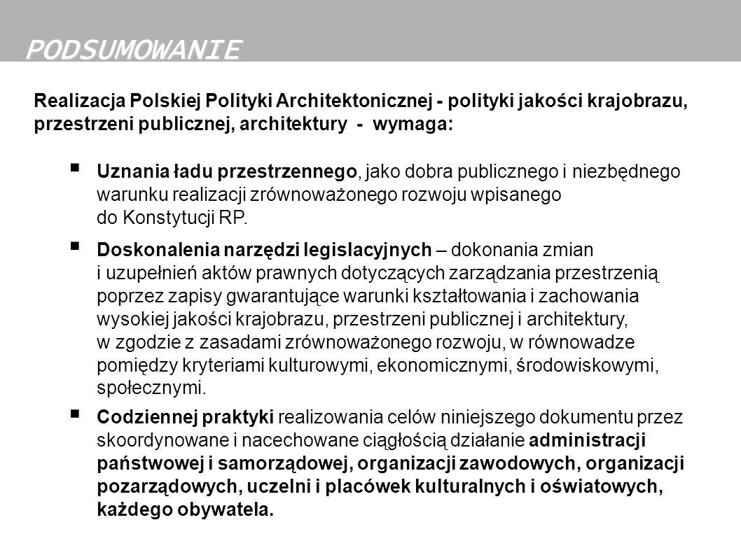 PODSUMOWANIE Realizacja Polskiej Polityki Architektonicznej - polityki jakości krajobrazu, przestrzeni publicznej, architektury - wymaga: