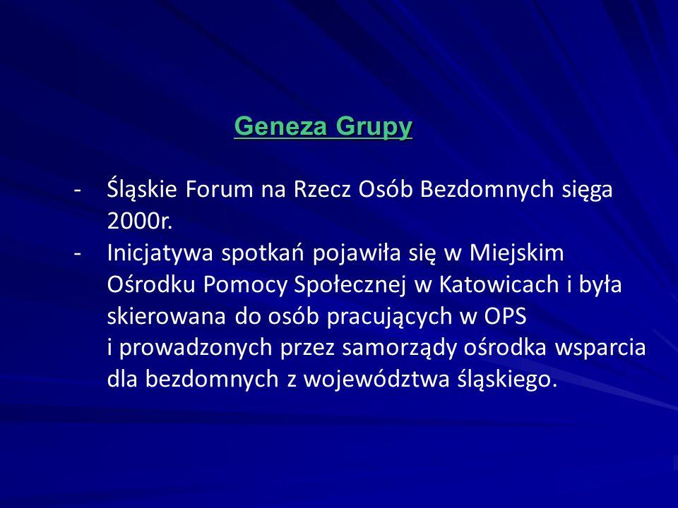 Geneza Grupy - Śląskie Forum na Rzecz Osób Bezdomnych sięga. 2000r.