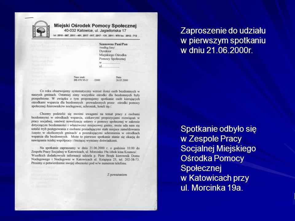 Zaproszenie do udziału w pierwszym spotkaniu w dniu 21.06.2000r.