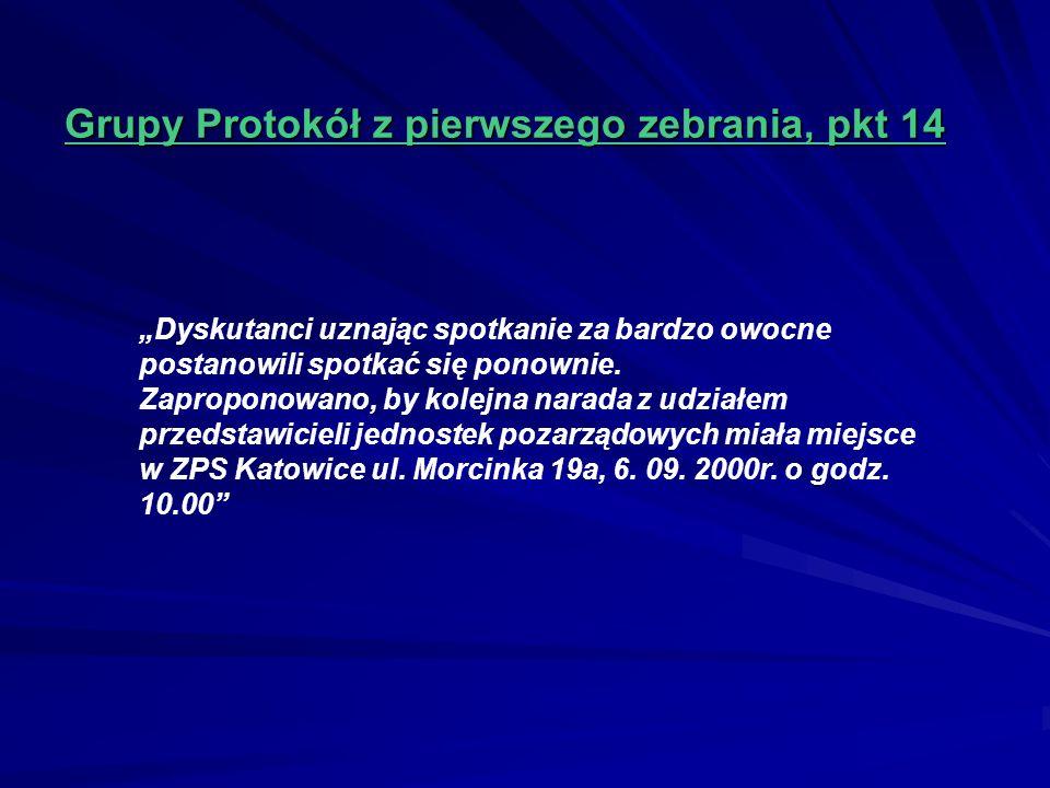 Grupy Protokół z pierwszego zebrania, pkt 14