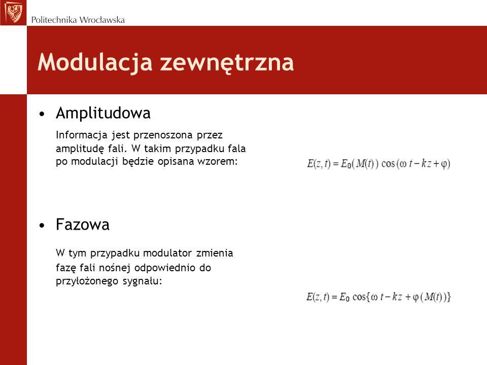 Modulacja zewnętrzna Amplitudowa. Informacja jest przenoszona przez amplitudę fali. W takim przypadku fala po modulacji będzie opisana wzorem: