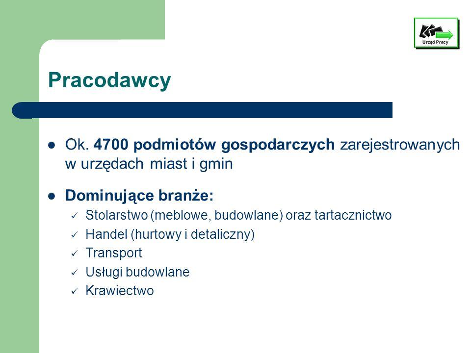 Pracodawcy Ok. 4700 podmiotów gospodarczych zarejestrowanych w urzędach miast i gmin. Dominujące branże: