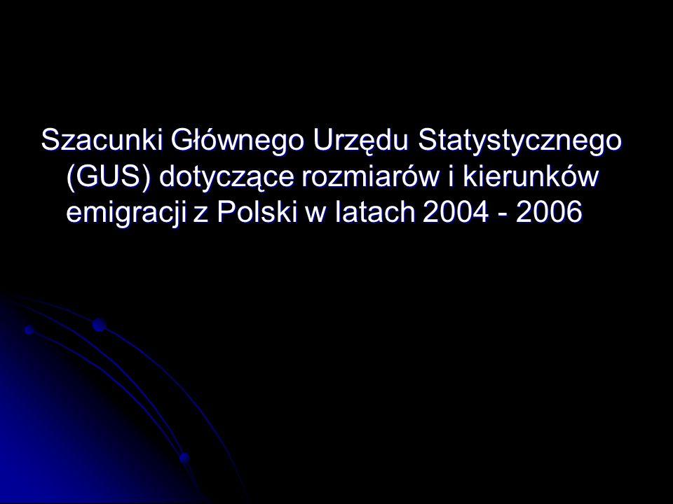 Szacunki Głównego Urzędu Statystycznego (GUS) dotyczące rozmiarów i kierunków emigracji z Polski w latach 2004 - 2006