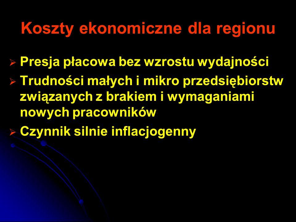 Koszty ekonomiczne dla regionu