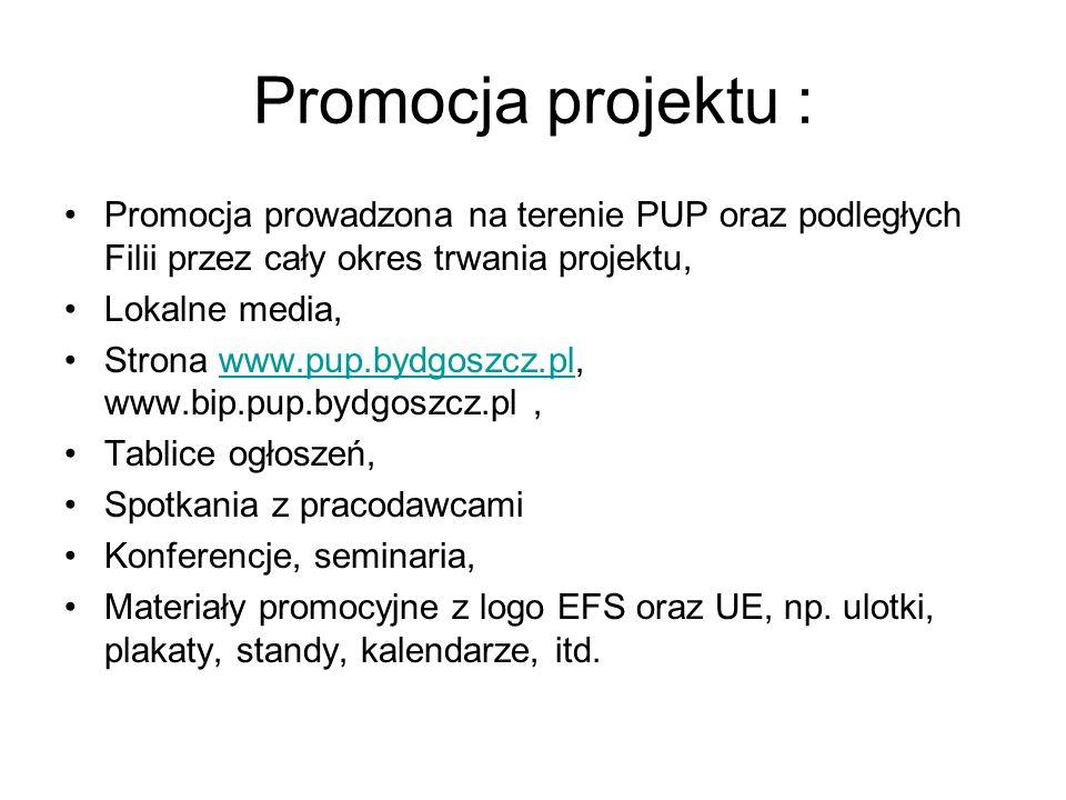 Promocja projektu :Promocja prowadzona na terenie PUP oraz podległych Filii przez cały okres trwania projektu,