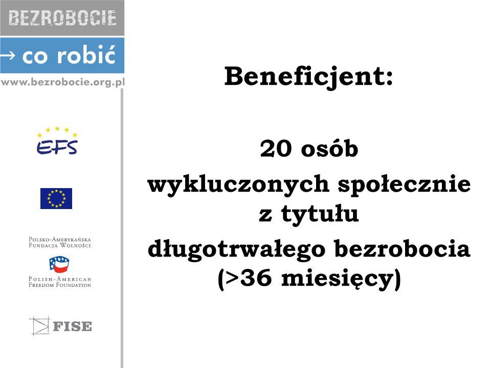 Beneficjent: 20 osób wykluczonych społecznie z tytułu