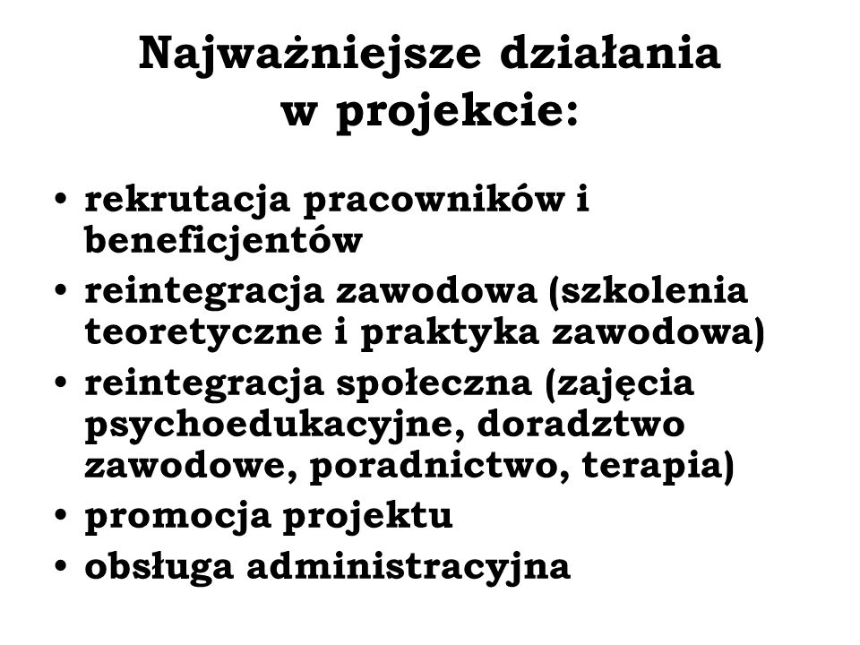 Najważniejsze działania w projekcie: