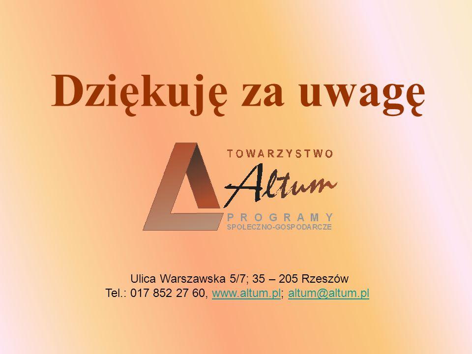 Dziękuję za uwagę Ulica Warszawska 5/7; 35 – 205 Rzeszów