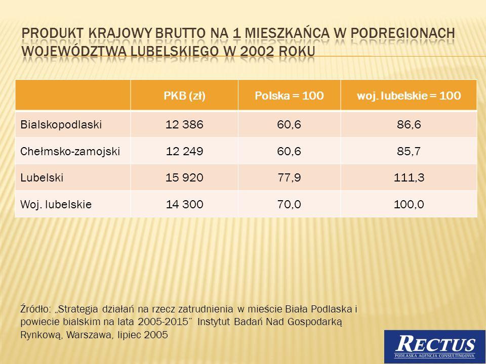 Produkt krajowy brutto na 1 mieszkańca w podregionach województwa lubelskiego w 2002 roku