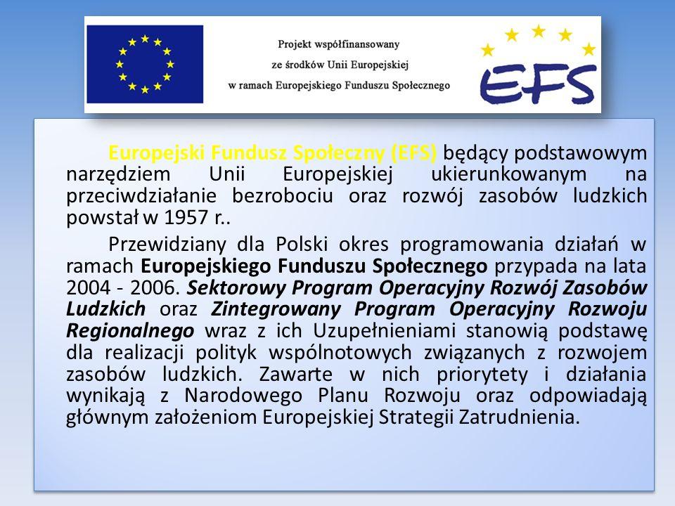 Europejski Fundusz Społeczny (EFS) będący podstawowym narzędziem Unii Europejskiej ukierunkowanym na przeciwdziałanie bezrobociu oraz rozwój zasobów ludzkich powstał w 1957 r..