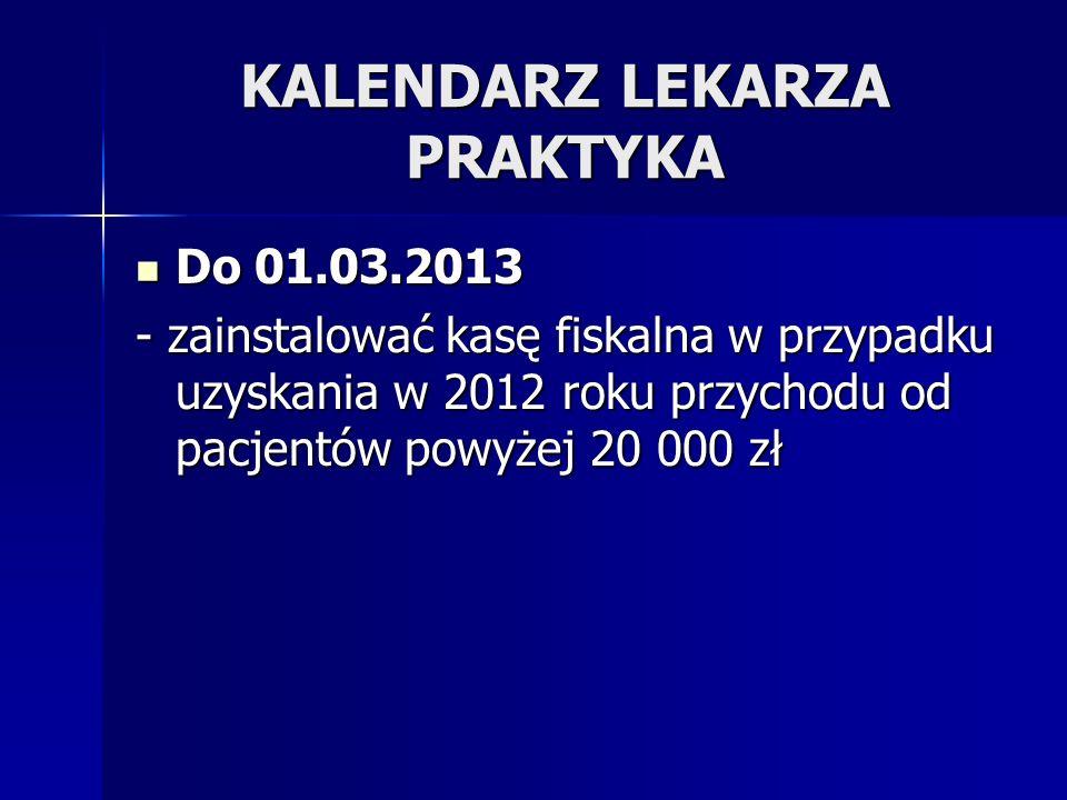 KALENDARZ LEKARZA PRAKTYKA