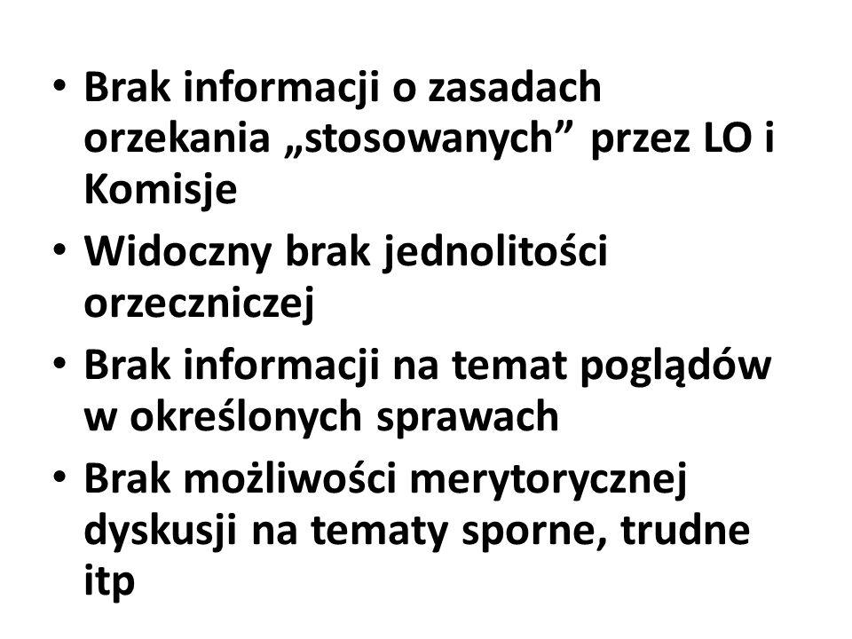 """Brak informacji o zasadach orzekania """"stosowanych przez LO i Komisje"""