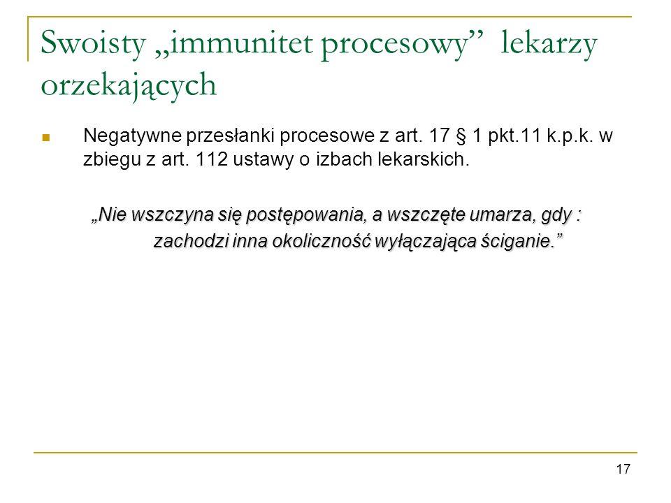 """Swoisty """"immunitet procesowy lekarzy orzekających"""