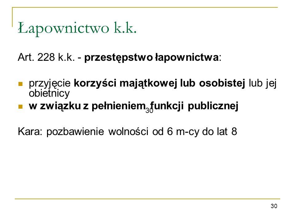 Łapownictwo k.k. Art. 228 k.k. - przestępstwo łapownictwa:
