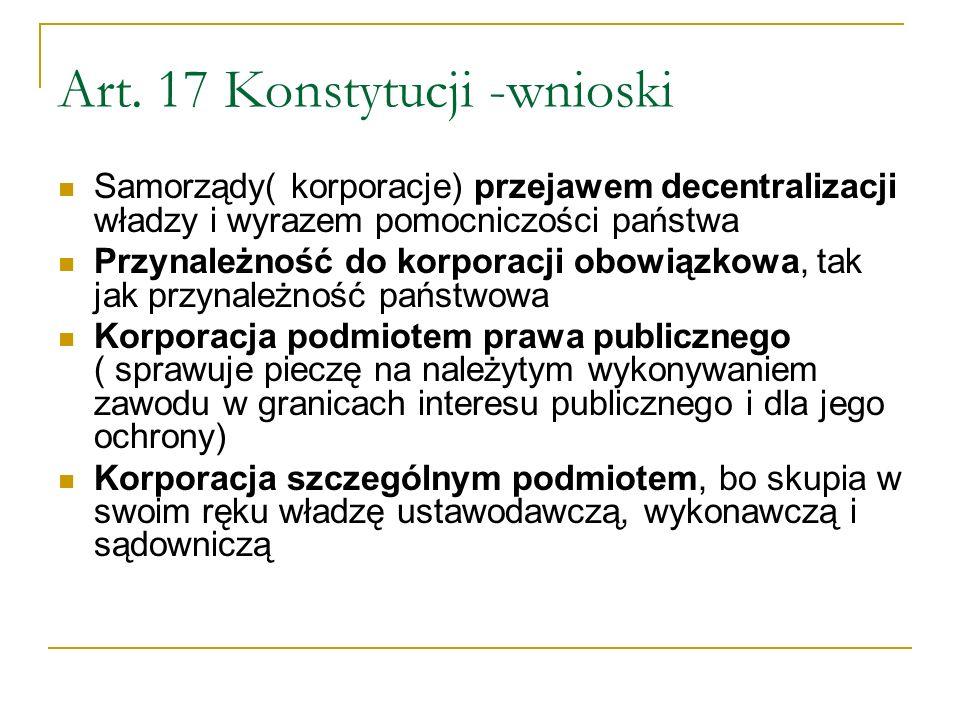 Art. 17 Konstytucji -wnioski