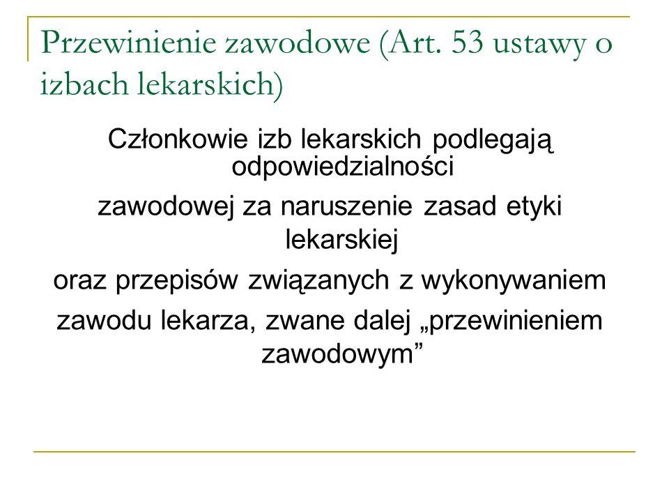 Przewinienie zawodowe (Art. 53 ustawy o izbach lekarskich)