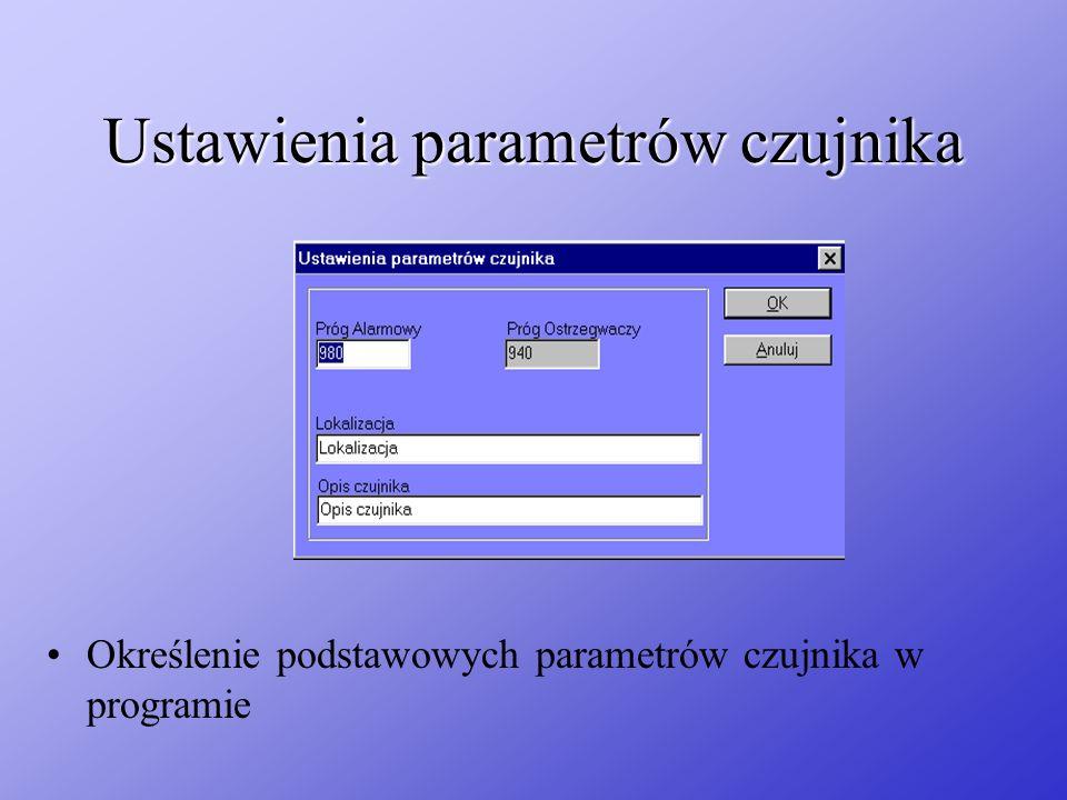 Ustawienia parametrów czujnika