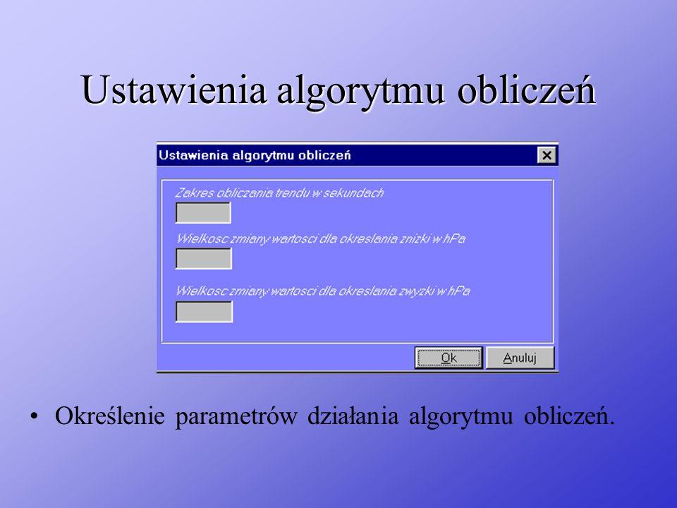 Ustawienia algorytmu obliczeń