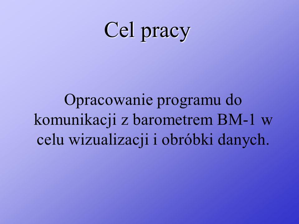 Cel pracyOpracowanie programu do komunikacji z barometrem BM-1 w celu wizualizacji i obróbki danych.