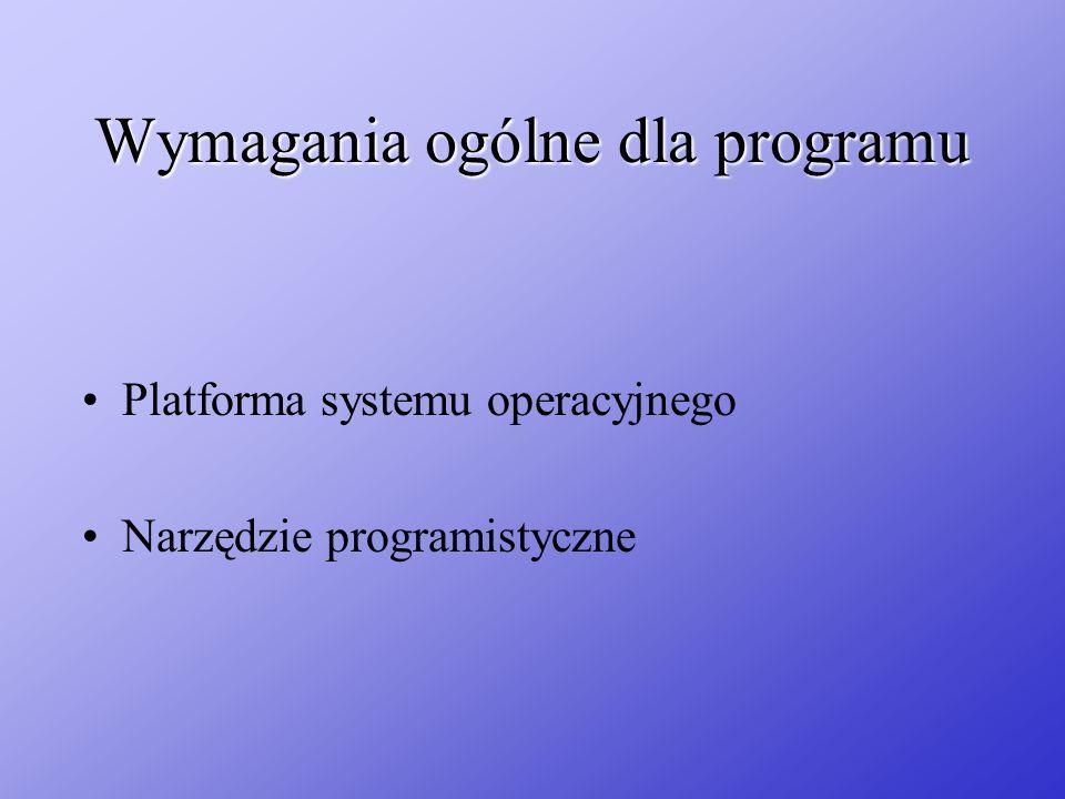 Wymagania ogólne dla programu